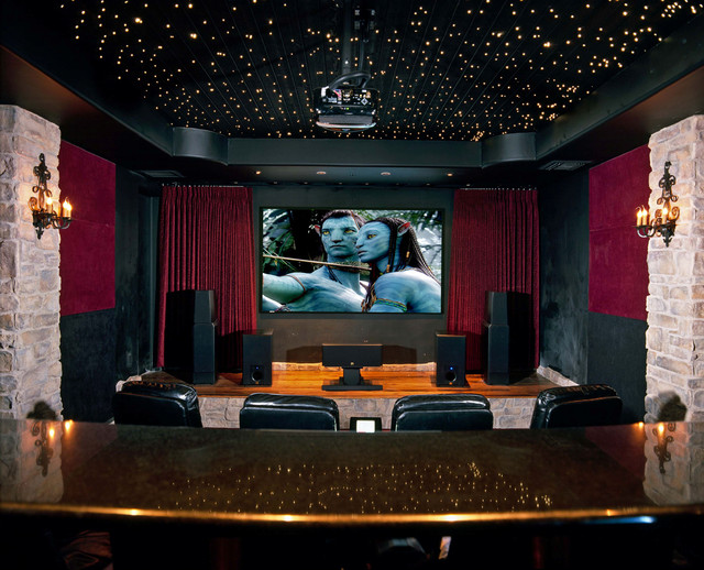Bose Ceiling Speakers Home Theater Traditional with Black Leather Armchair Black