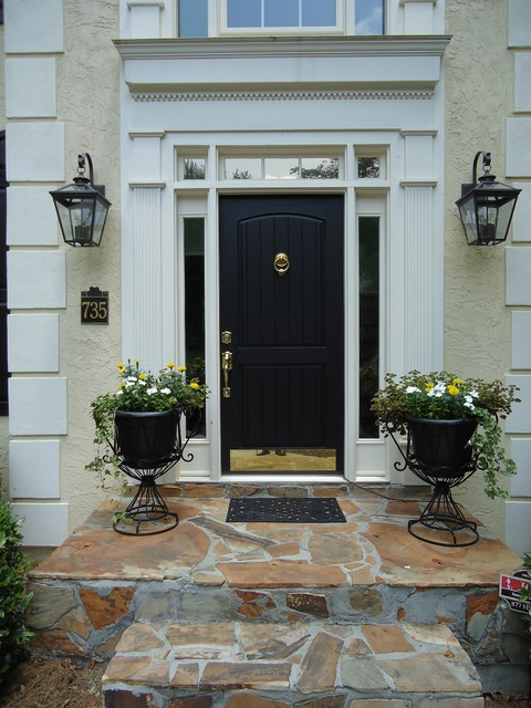 brass door knocker Entry Traditional with black brass kickplate front