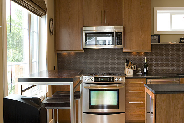 Breville Mini Smart Oven Kitchen Modern with Barstools Dining Area Gray