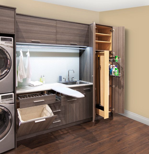 Broom and Dustpan Set Laundry Room Contemporary with Built in Cabinets Built