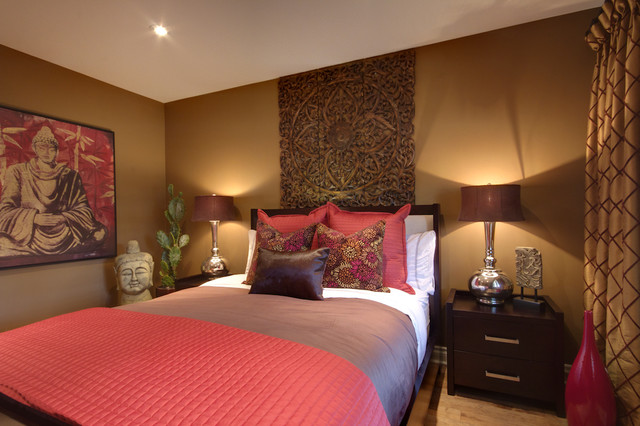 Browning Bedding Bedroom Contemporary with Asian Beige Patterned Curtain
