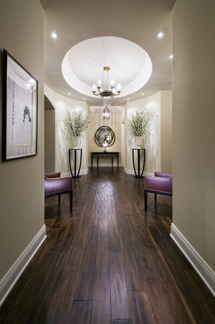 bruce hardwood Hall Contemporary with artwork baseboards ceiling lighting