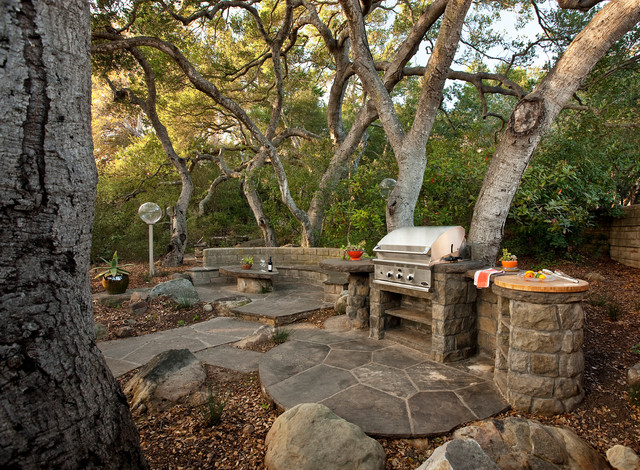 Built in Charcoal Grill Patio Traditional with Bbq Pit Boulders Built In1