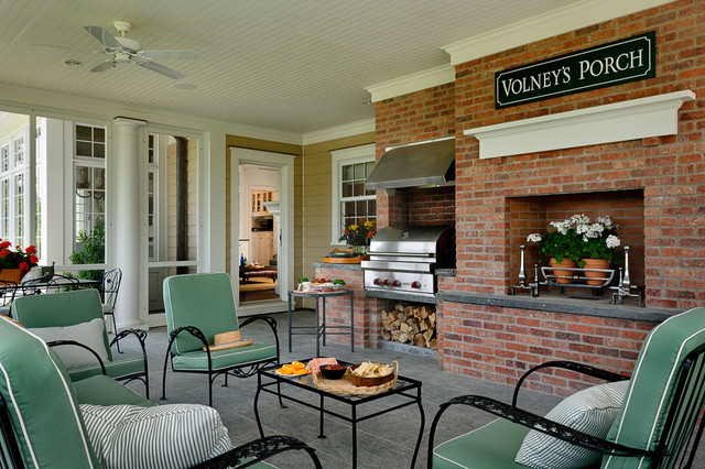 Built in Charcoal Grill Porch Traditional with Accessory Room Arched Window