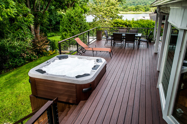 Bullfrog Spa Porch Traditional with Bullfrog Spas Cable Rail