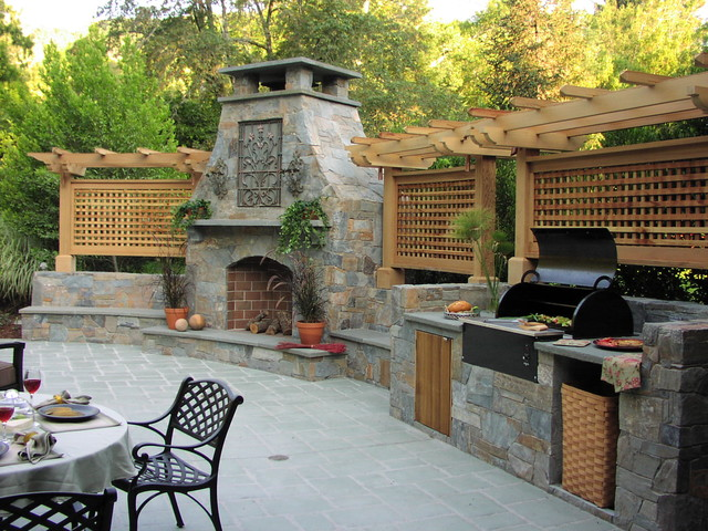 Buster Crabbe Pools Patio Traditional with Barbecue Bench Built In