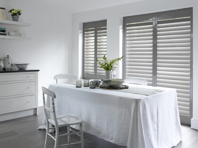 Butcher Block Cutting Board Kitchen Traditional with Aluminum Shutters Breakfast Nook