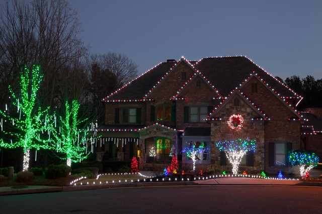 c9 bulbs Exterior Traditional with brick home C6 lights