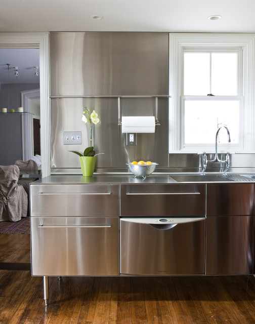 calphalon stainless steel Kitchen Transitional with kitchen faucet kitchen sink