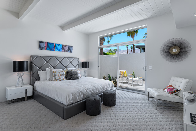 carpet lowes Bedroom Midcentury with clerestory window gray bed