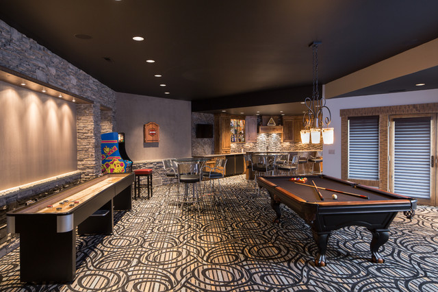 Carpet Mill Outlet Basement Contemporary with Arcade Games Billiards Black