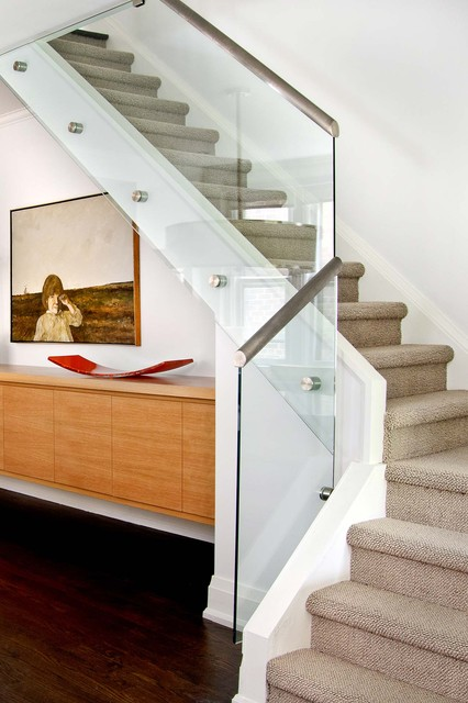Carpet Transition Strip Staircase Contemporary with Art Cabinet Carpeted Stairs
