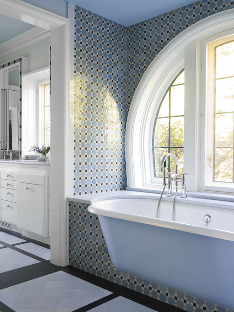 Cast Iron Clawfoot Tub Bathroom Traditional with Alcove Arched Windows Built