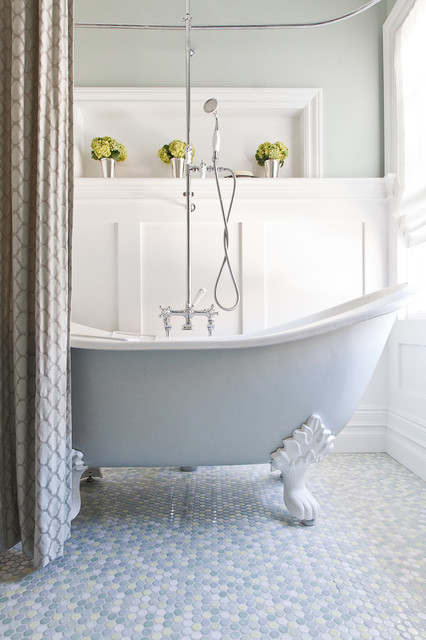 Cast Iron Clawfoot Tub Bathroom Traditional with Baseboards Board and Batten