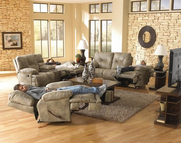 Catnapper Sofa Family Room Modern with Lay Flat Reclining Furniture