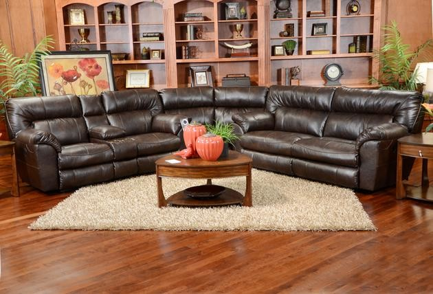 Catnapper Sofa Spaces with Bonded Leather Brown Catnapper