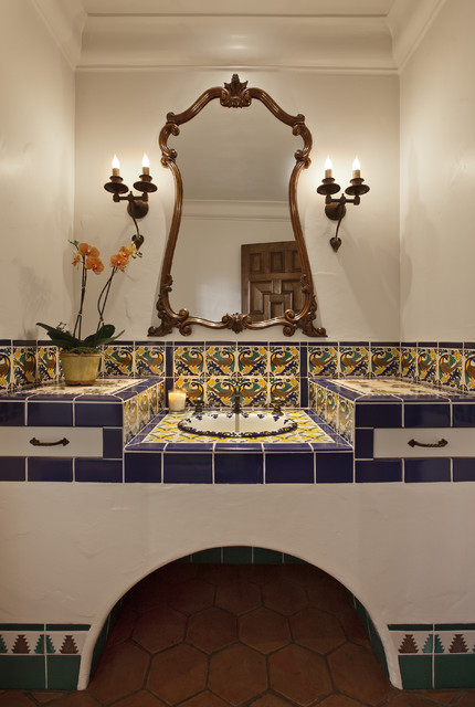 Ceramica Tile Bathroom Mediterranean with Blue Blue and Yellow