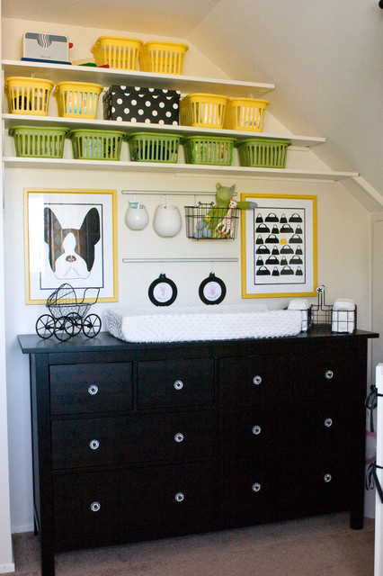 Changing Pad Tray Nursery Contemporary with Black and White Black