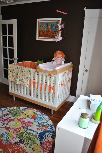 changing pad tray Nursery Modern with brown walls changing table