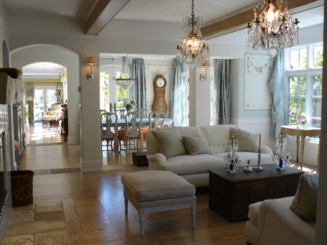 cheap crystal chandeliers Living Room Shabby-chic with arched walkway blue wood