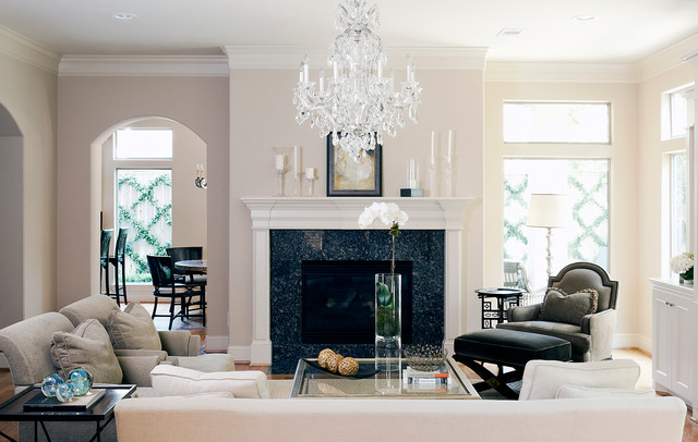 Cheap Crystal Chandeliers Living Room Traditional with Arch Archway Beige Fireplace