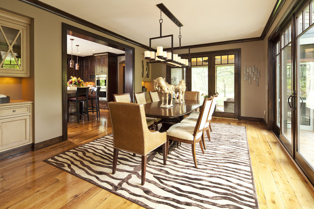Cheetah Rug Dining Room Contemporary with Beige Built in Cabinets
