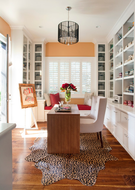 Cheetah Rug Home Office Contemporary with Area Rug Built in Shelves