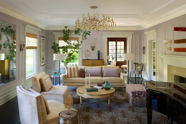 Cheetah Rug Living Room Eclectic with Antiqued Mirror Architectural Details