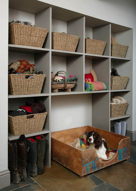 Chew Proof Dog Bed Laundry Room Farmhouse with Baskets Built in Storage