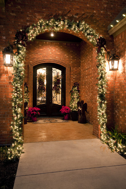 Christmas Pathway Lights Porch Traditional with Angel Brick Wall Christmas
