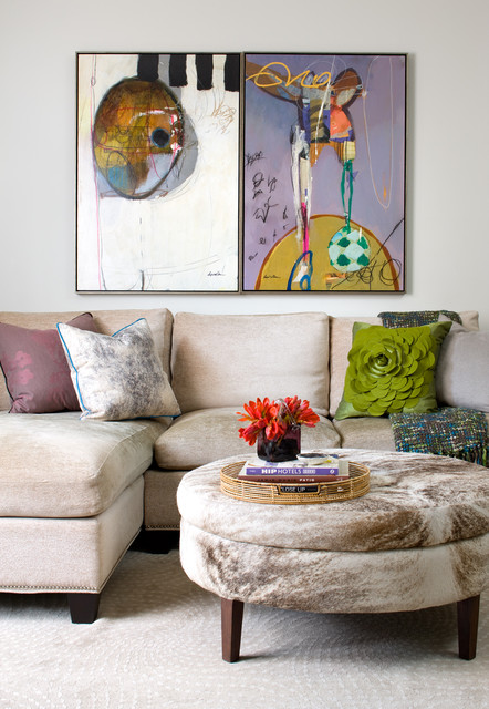 Cindy Crawford Sectional Living Room Transitional with Area Rug Art Ottoman