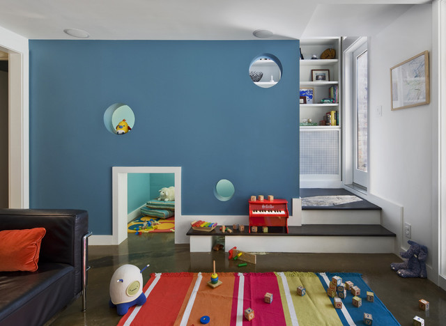 Clean Crawls Kids Contemporary with Accent Wall Area Rug
