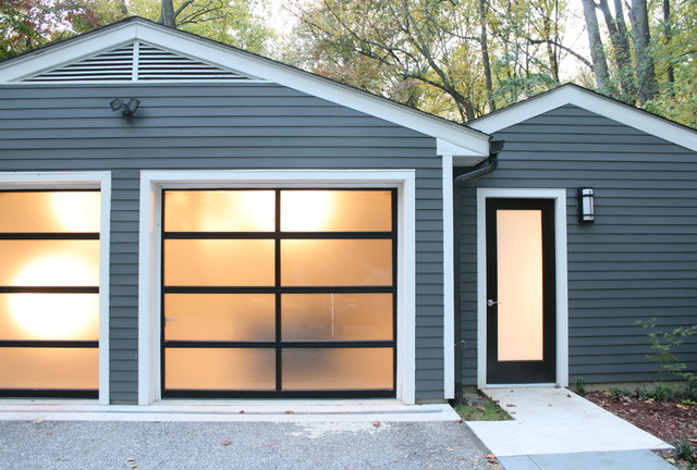 Clopay Garage Door Garage and Shed Modern with Bark Chips Cement Path