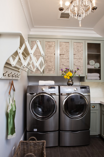 Clothes Hanger Rack Laundry Room Traditional with Basket Chandelier Flowers Hanging