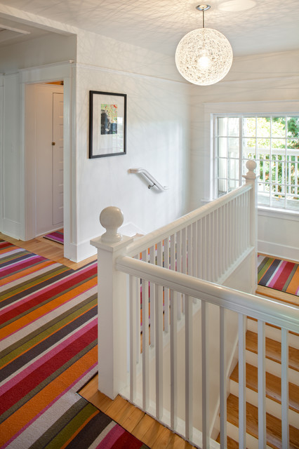 Coles Carpet Staircase Eclectic with Baseboards Colorful Rug Globe