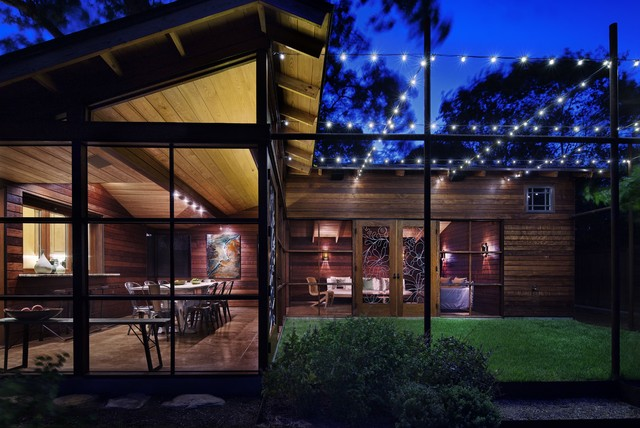 Commercial Outdoor String Lights Exterior Eclectic With Dining Table Glass  Wall