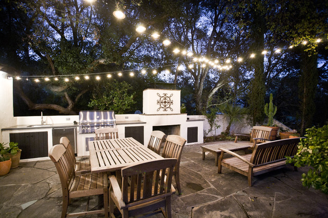 Commercial Outdoor String Lights Patio  Contemporary With Barbecue Container Plants Grill