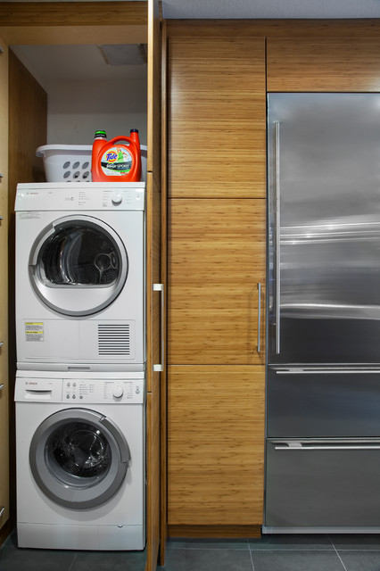 Compact Stackable Washer Dryer Laundry Room Modern with Laundry Closet Slate Tile
