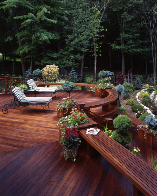 Composite Decking Prices Deck Traditional with Built in Bench Built in Planters