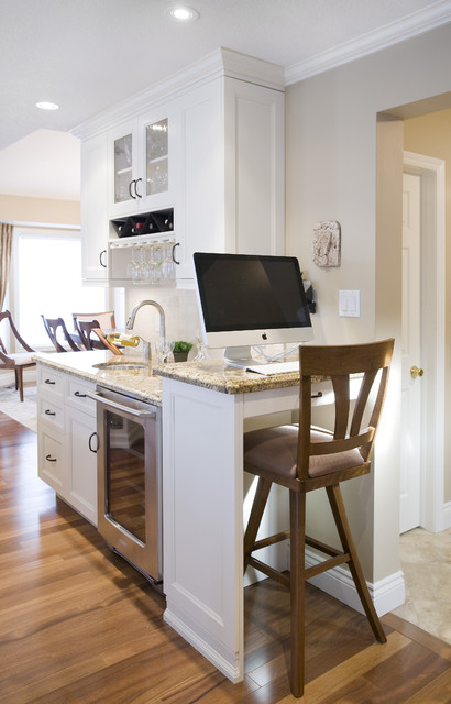 computer desks with hutch Kitchen Traditional with baseboards beige wall crown