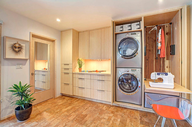 Computerized Sewing Machines Laundry Room Contemporary with Bamboo Cabinets Clean Lines1