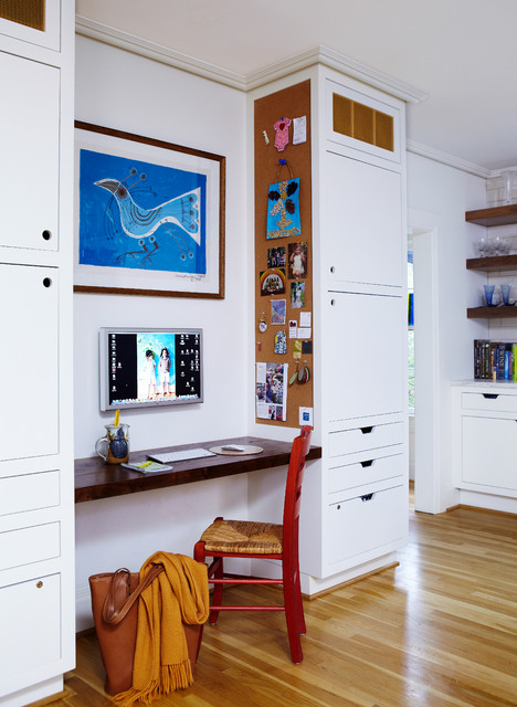 Cork Board Sheets Home Office Contemporary with Bird Art Built in Cabinets