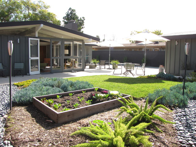 Costco Beds Landscape Midcentury with Brown Siding Clerestory Window