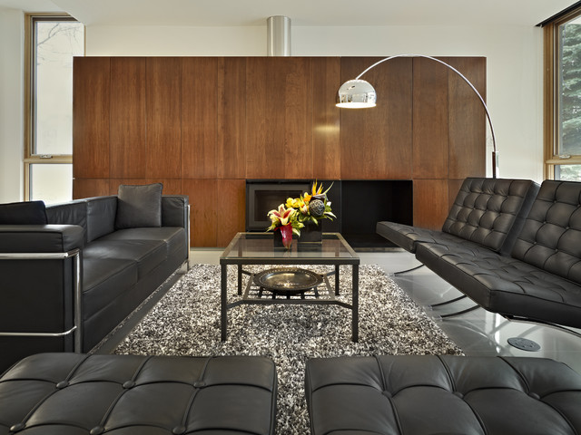 Costco Couch Living Room Modern with Arc Lamp Black Leather