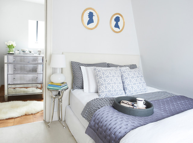 Costco Memory Foam Mattress Bedroom Transitional with Blue and White Faux
