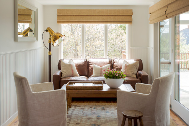 Couch Slip Cover Family Room Beach with Bamboo Shades Beadboard Wainscoting