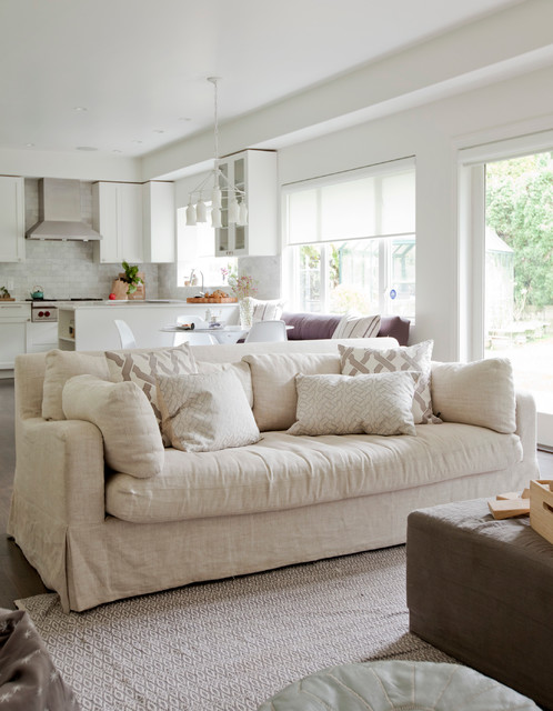 Couch Slip Cover Family Room Transitional with Beige Sofa Brown Ottoman