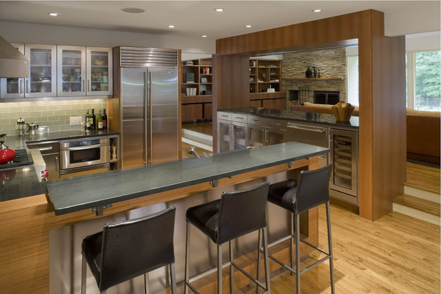 Countertop Brackets Kitchen Contemporary with Bar Frosted Glass Hardwood