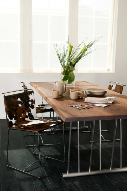 Cowhides Dining Room Contemporary with Centerpiece Chrome Cowhide Cowhide