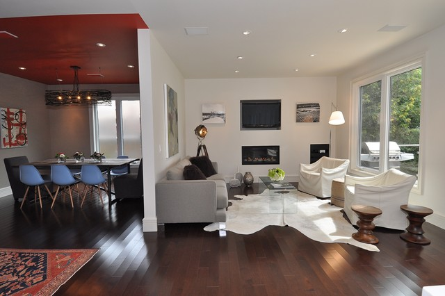 Cowhides Living Room Modern with Accent Ceiling Area Rug